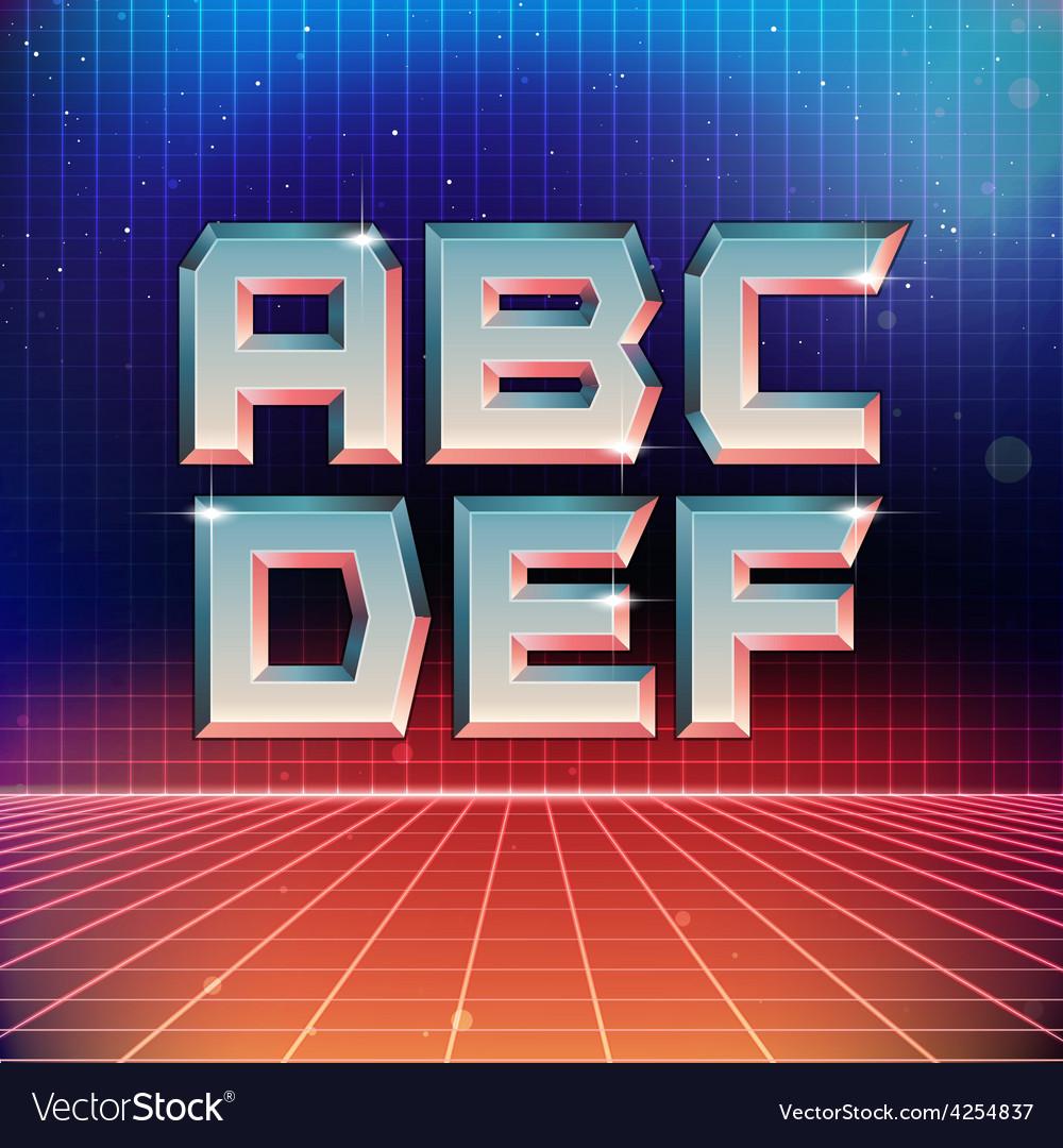 80s Retro Futuristic Font from A to F