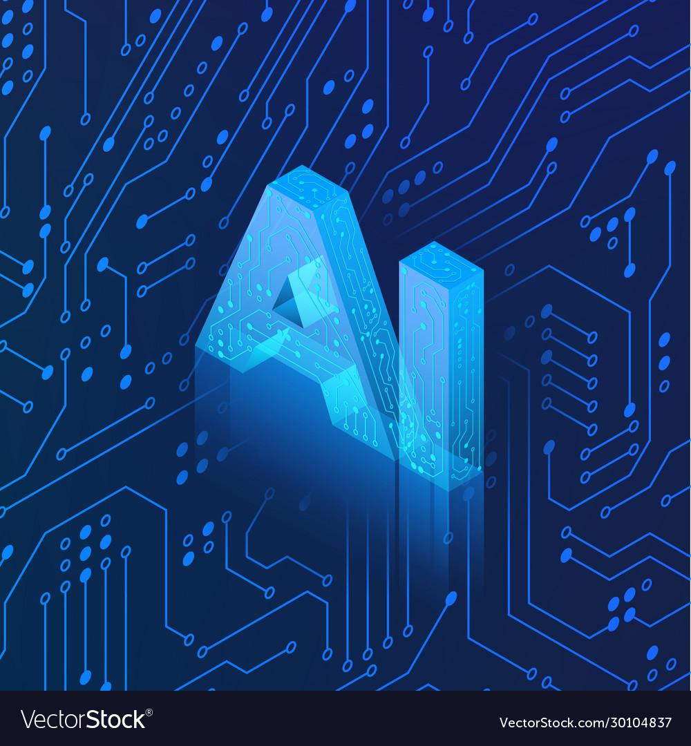 Ai hologram on circuit background isometric