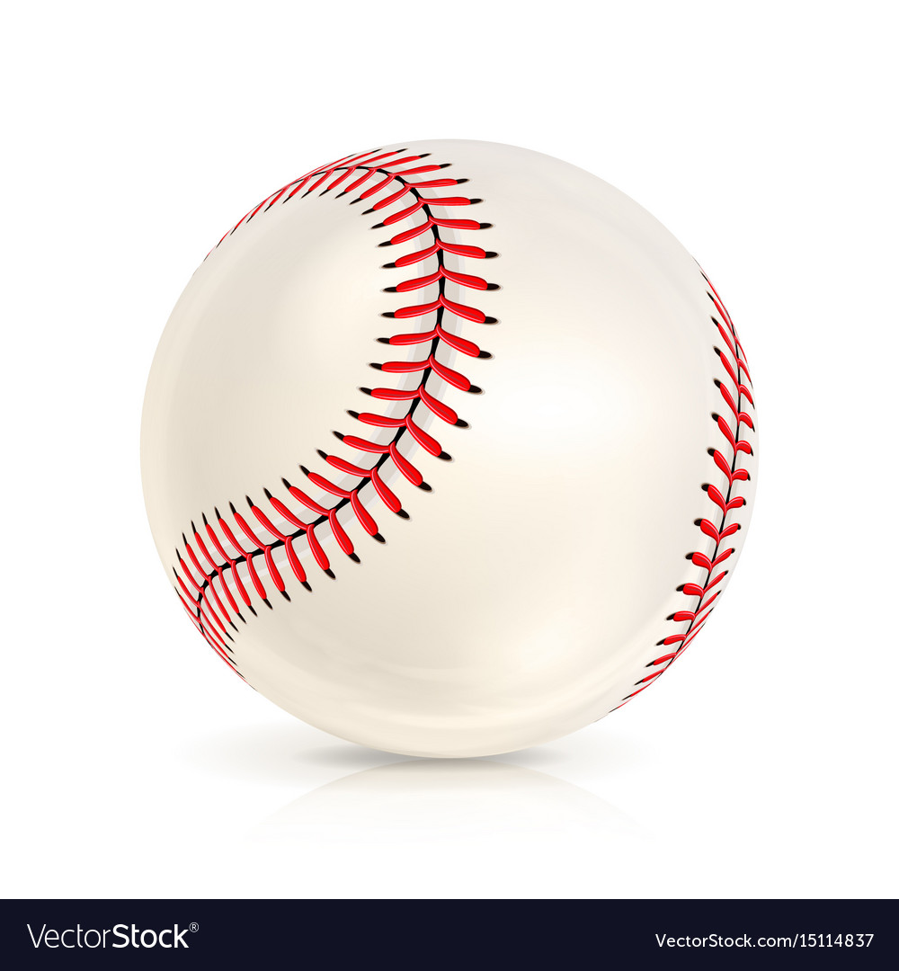 Baseball leather ball close-up isolated on white