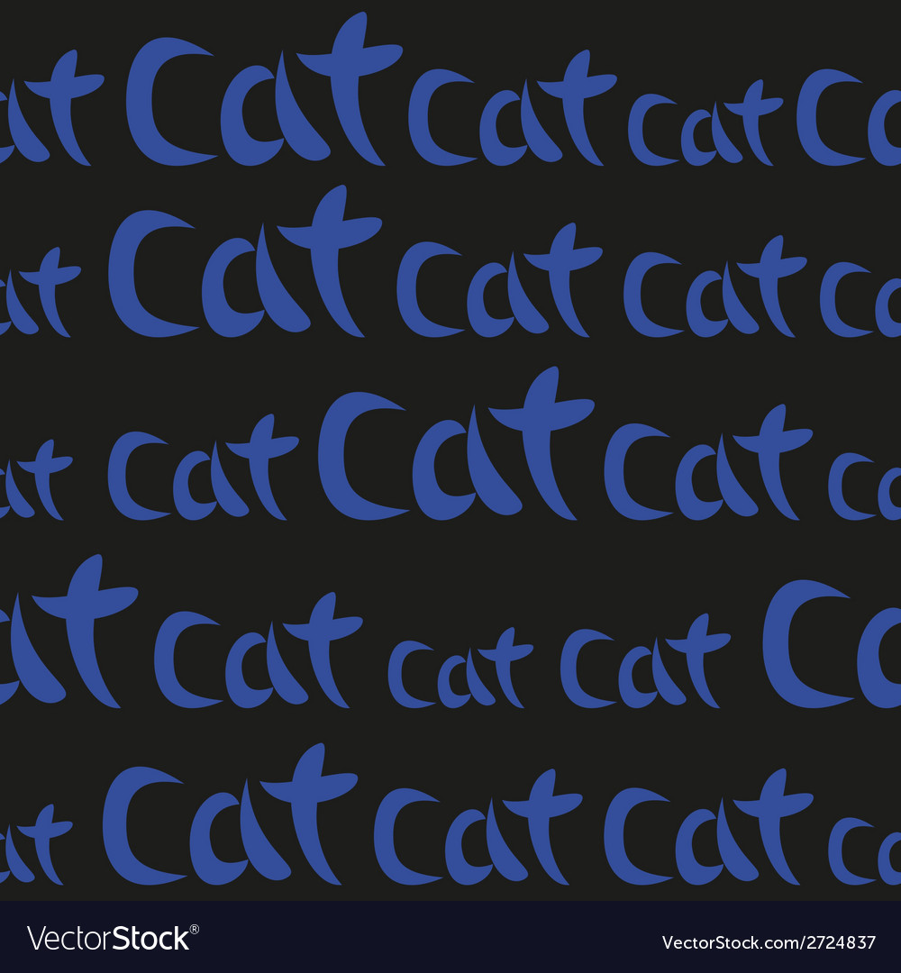 Blue Hand Drawing Word Cat Seamless Pattern Vector Image