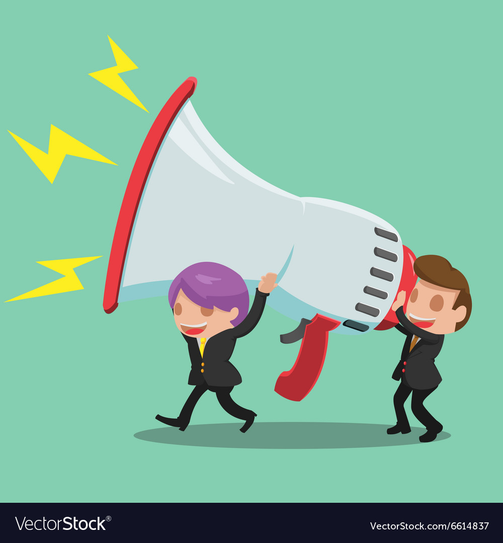 Business Man Carry Megaphone Advertisement