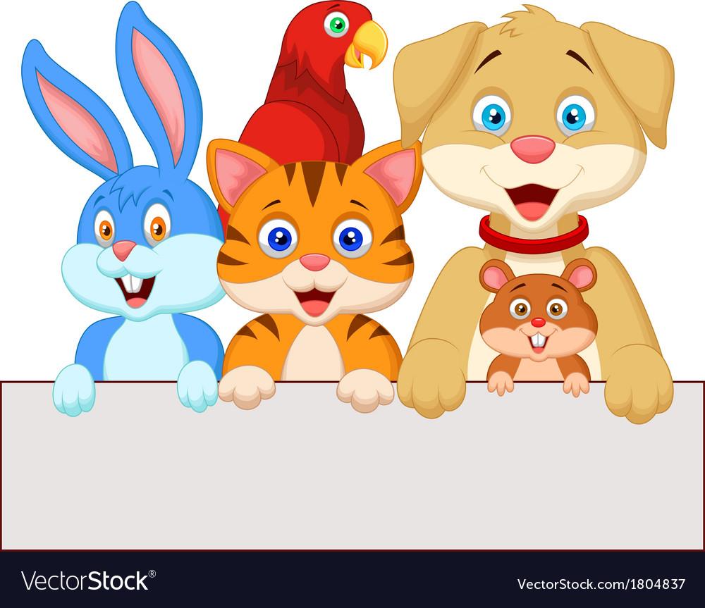 Cartoon pet animals holding blank paper