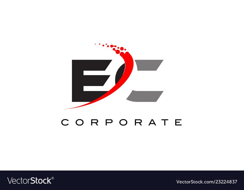 Ec Modern Letter Logo Design With Swoosh Vector Image