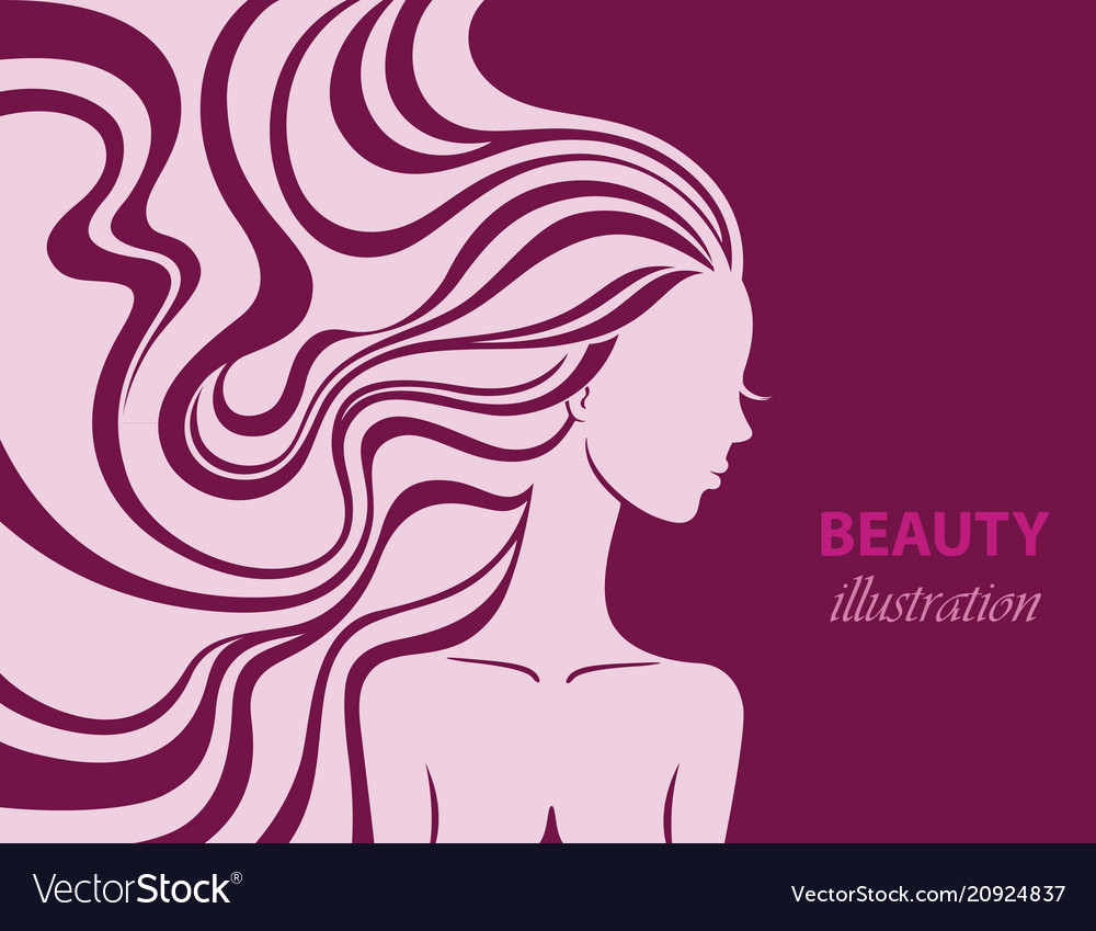 Fashion line art silhouette of a beautiful young
