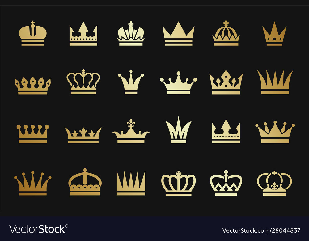 Gold crown icons crown silhouettes