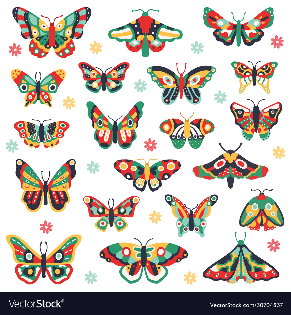 Hand drawn butterflies doodle colorful flying