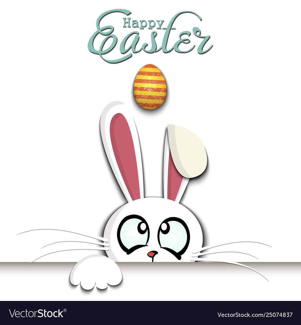 Happy easter white easter rabbit and egg