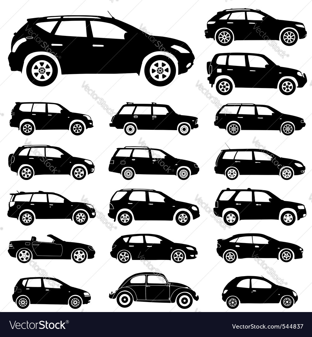 Large collection of silhouettes of cars element fo