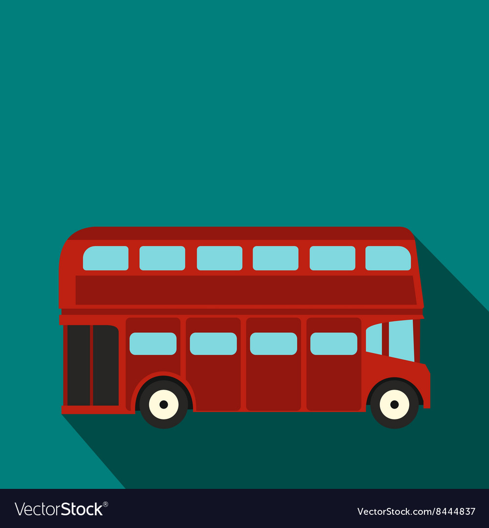 London double decker red bus icon flat style