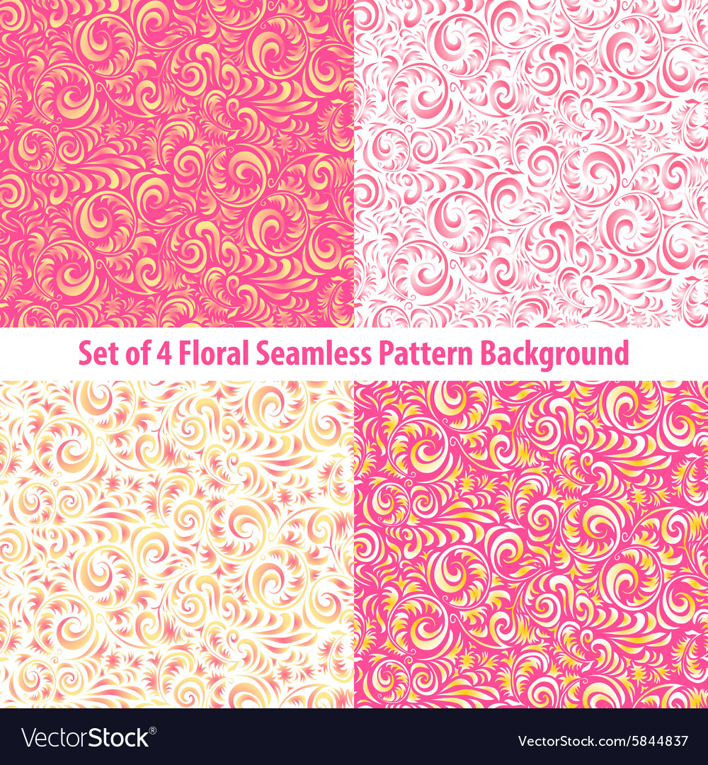 Seamless Floral Backgrounds And Borders Set Of Vector Image