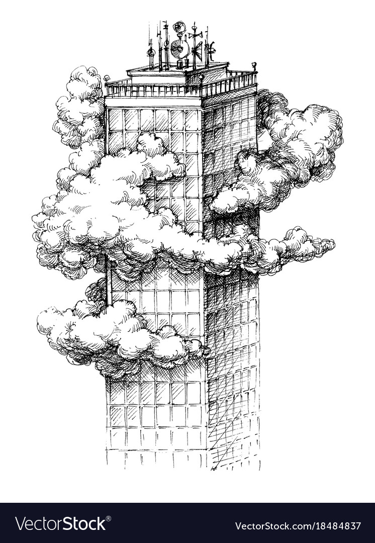 Skyscraper in the clouds sketch