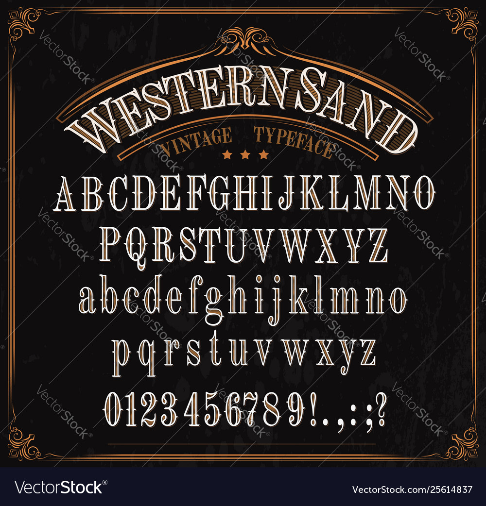 Typeface western font alphabet numbers and signs