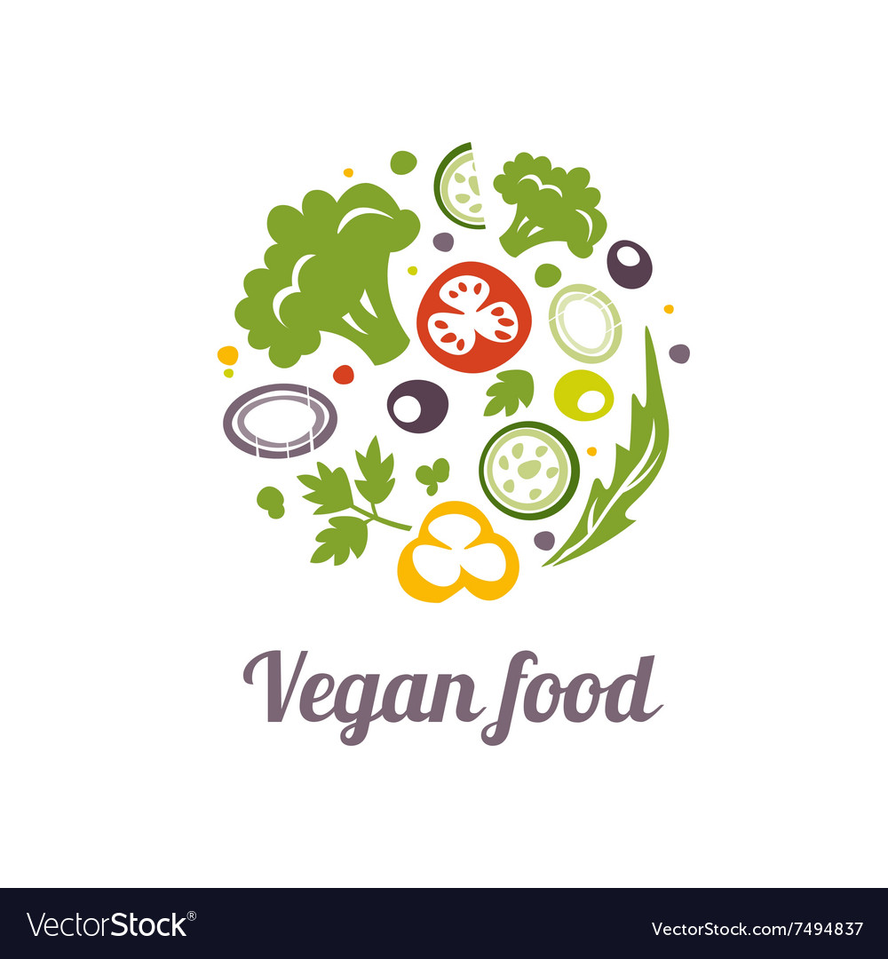 Vegan food icon Logo design template