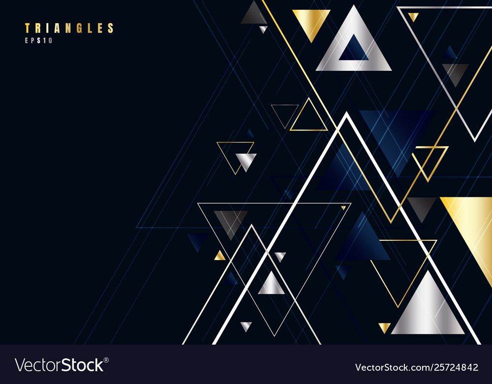Abstract gold and silver triangles shape and