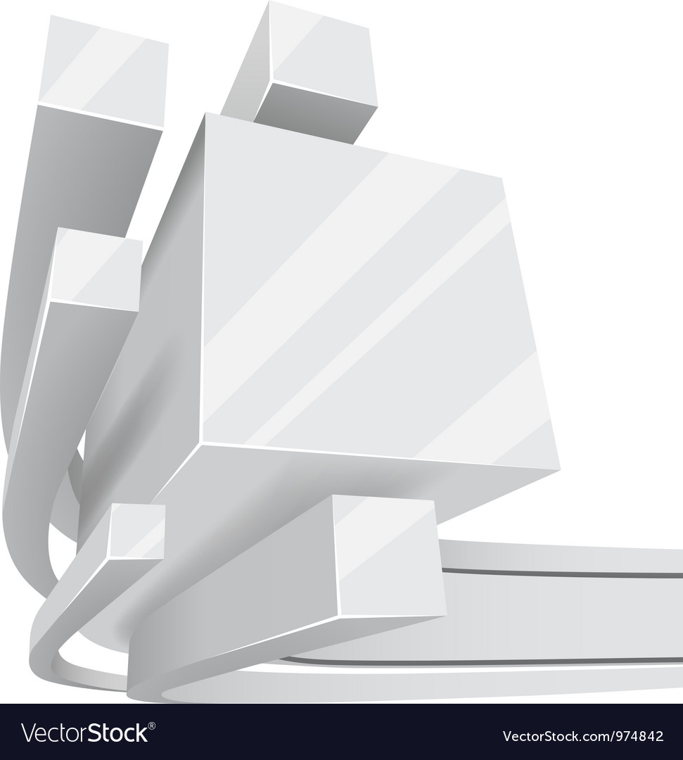 Abstract white 3D square rails background with vector image