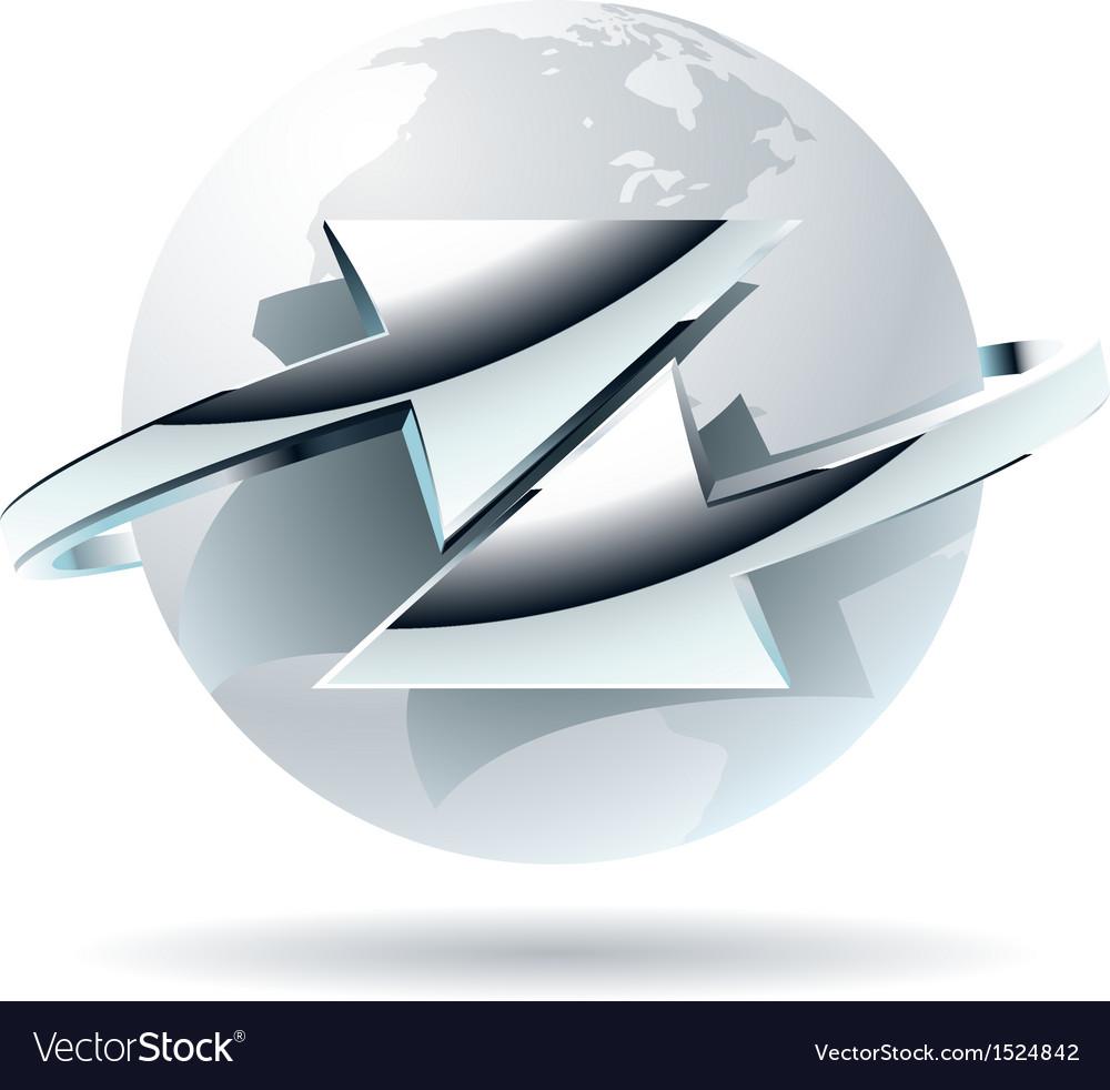 Arrow moves around of white globe