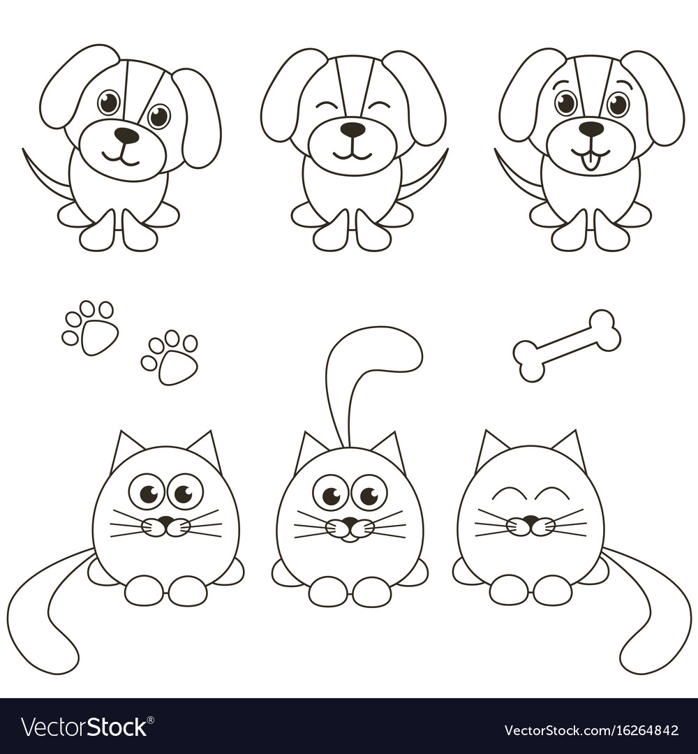 Cat and dog icons isolated on white