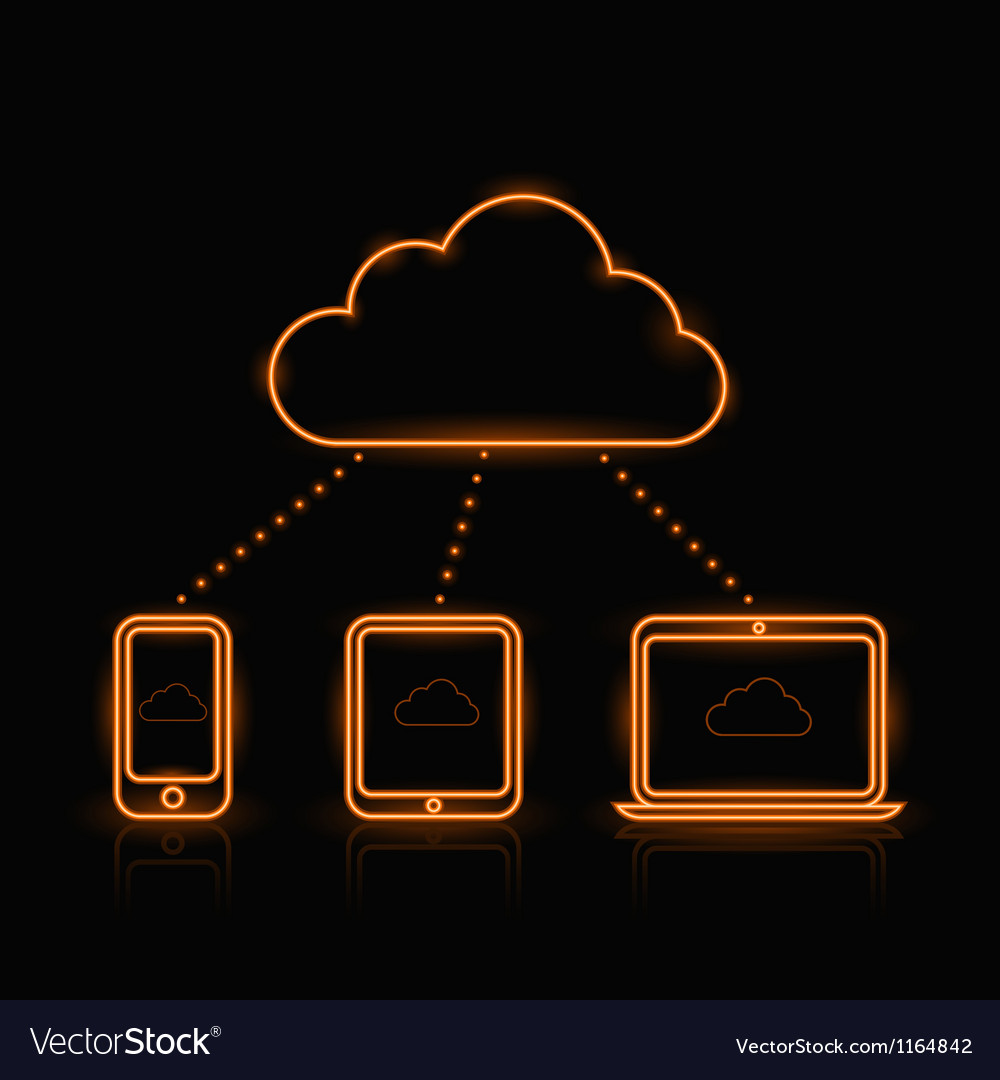 Cloud Neon Orange vector image