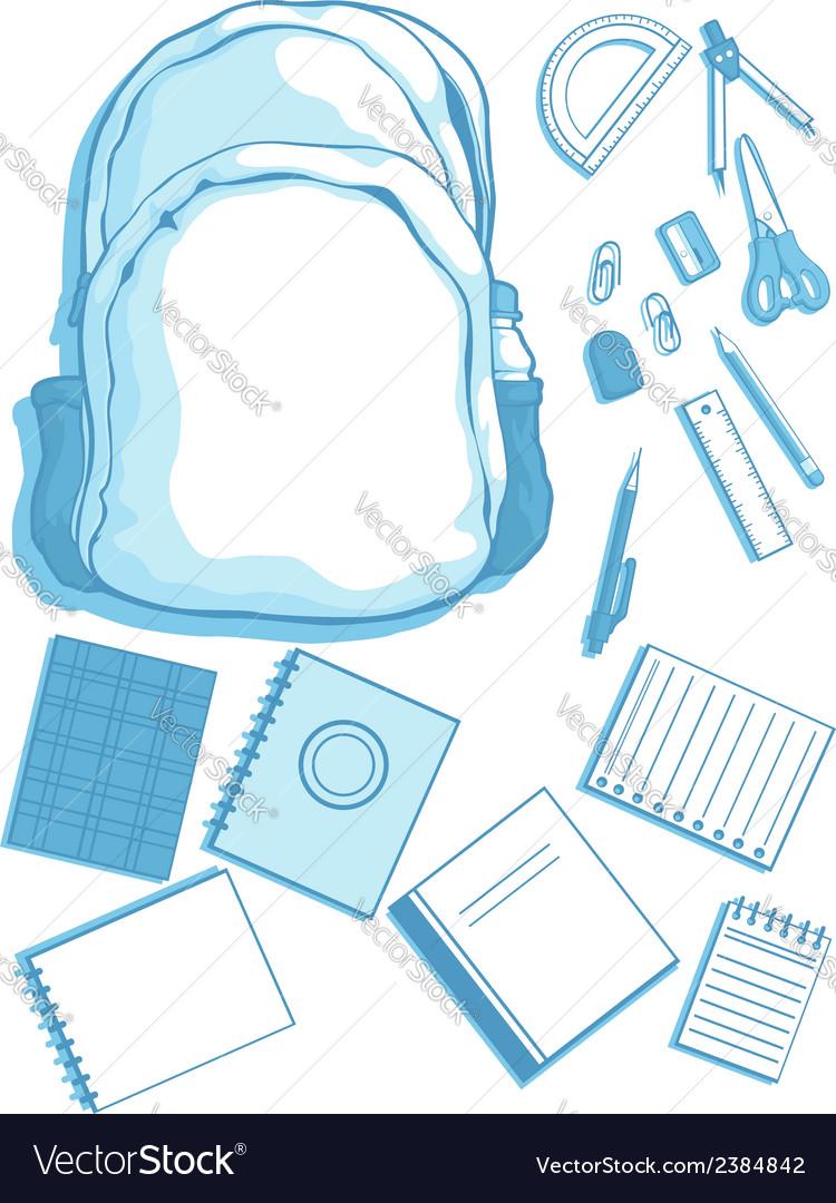 Costumizable Kits of School Bag and School vector image