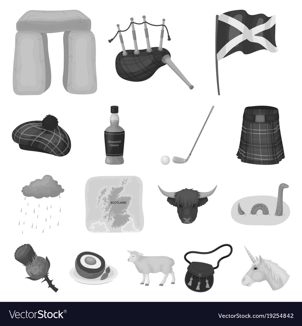 Country scotland monochrome icons in set