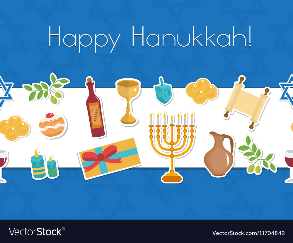 Happy hanukkah seamless poster greeting card vector image m4hsunfo