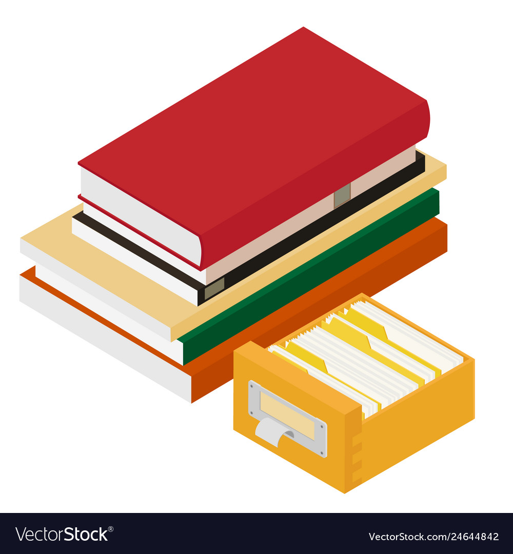 Isometric pile of books and library book catalog