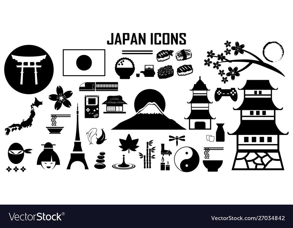 Japan travel asia sushi icon mono symbol