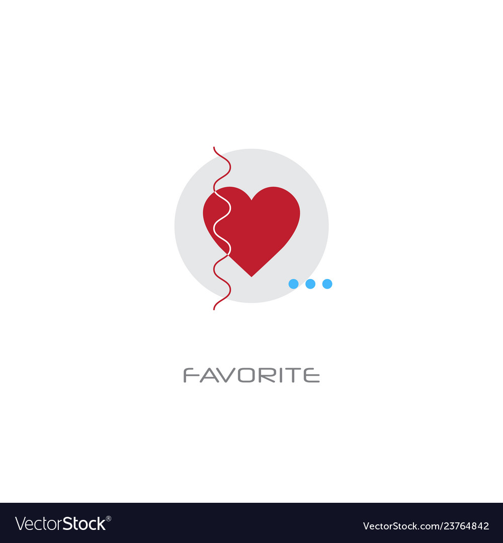 Love red heart symbol add to favorite concept line