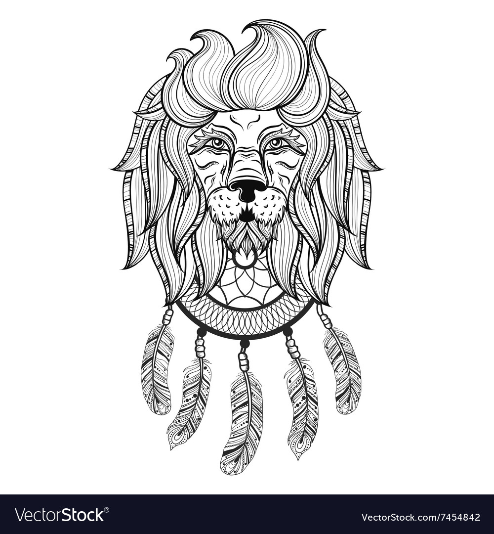 Ornamental Lion with dreamcatcher ethnic