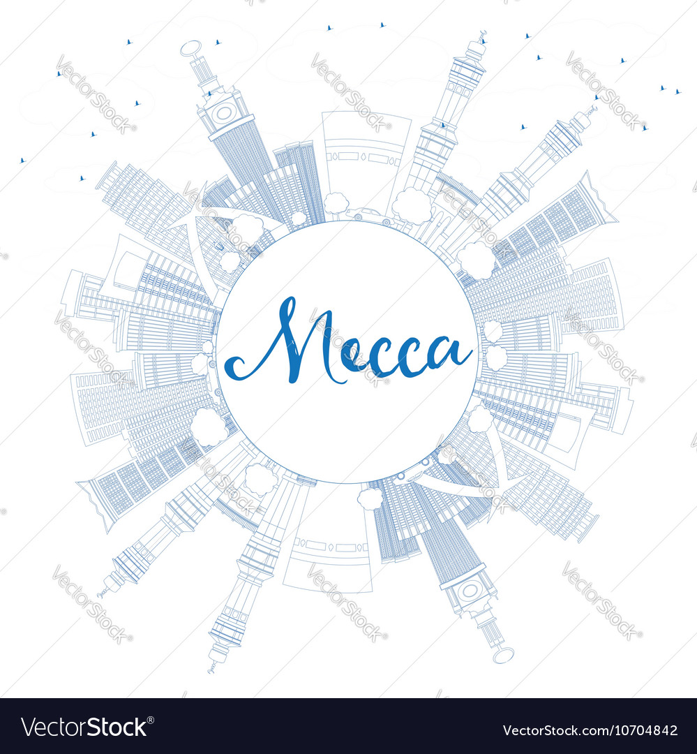 Outline Mecca Skyline with Blue Landmarks vector image