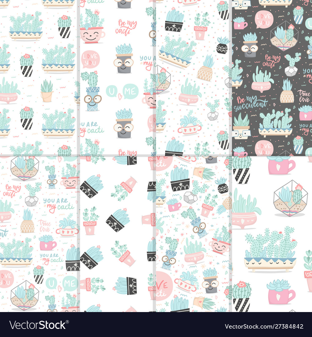 Set seamless patterns with cactuses and
