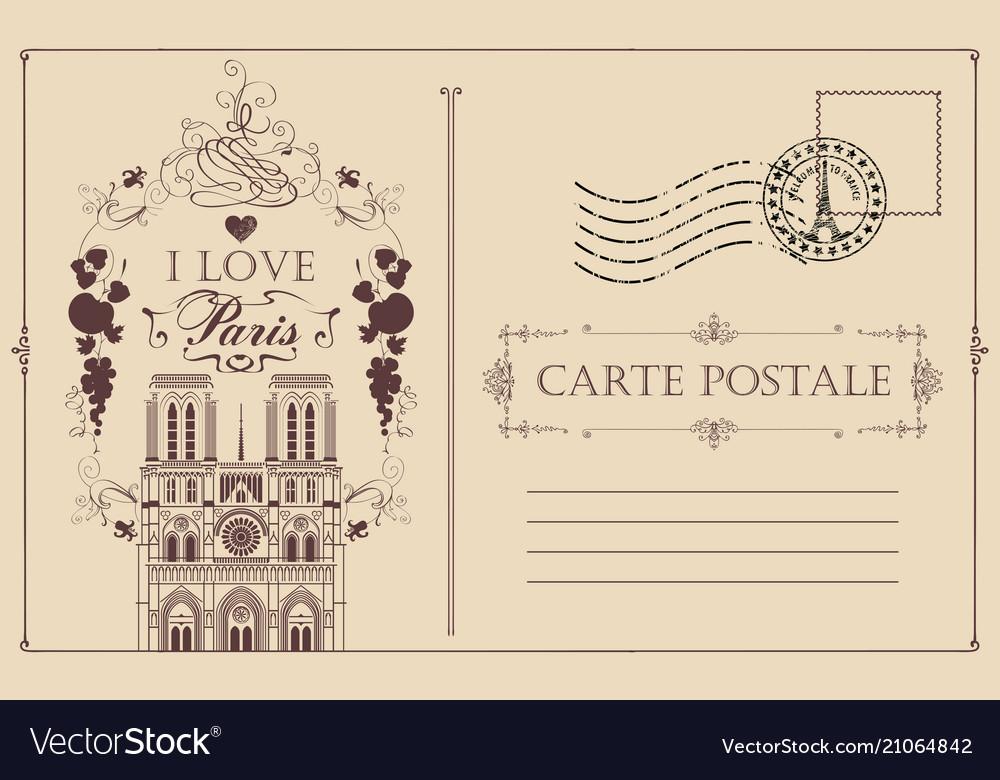 Vintage postcard with notre dame de paris