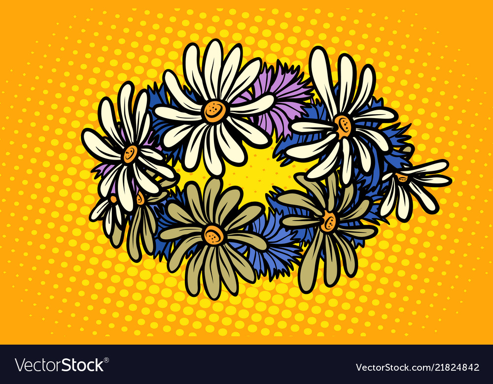 Wreath of wild flowers chamomile