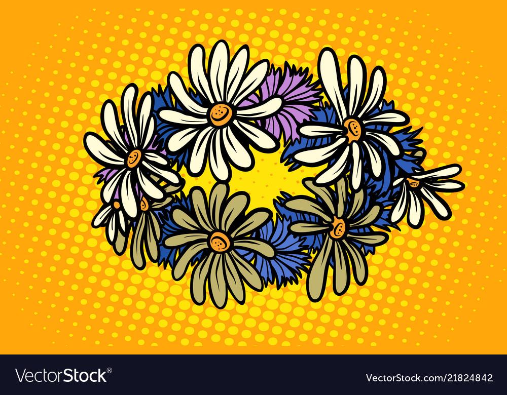 Wreath wild flowers chamomile