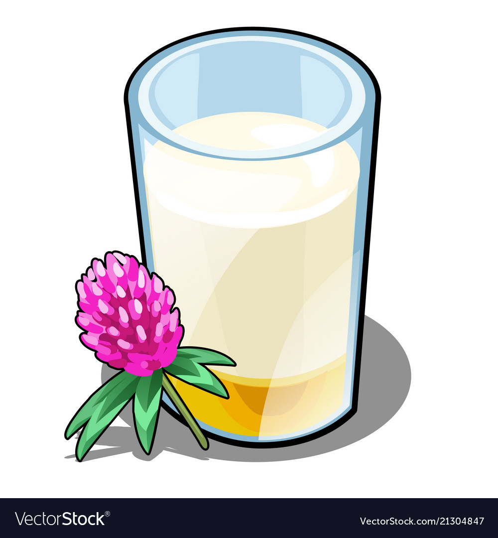 A glass of milk and honey made from clover
