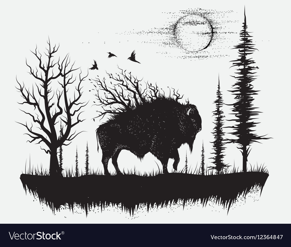 Abstract buffalo walking in the strange forest