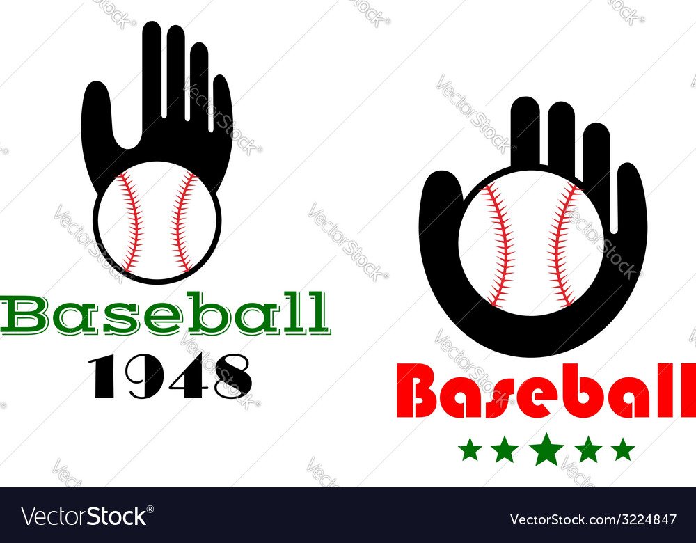 Baseball icons or emblems with people hand