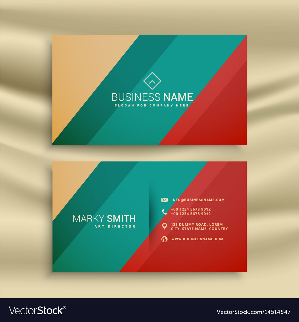 Creative business card design with retro colors Vector Image