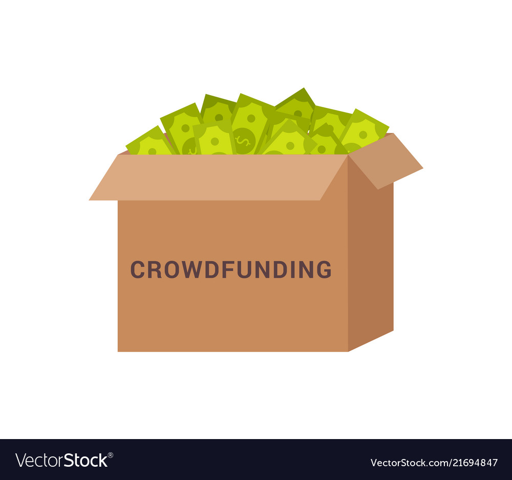 Crowdfunding box with money