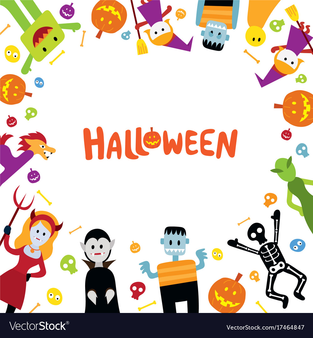 Halloween monster characters frame