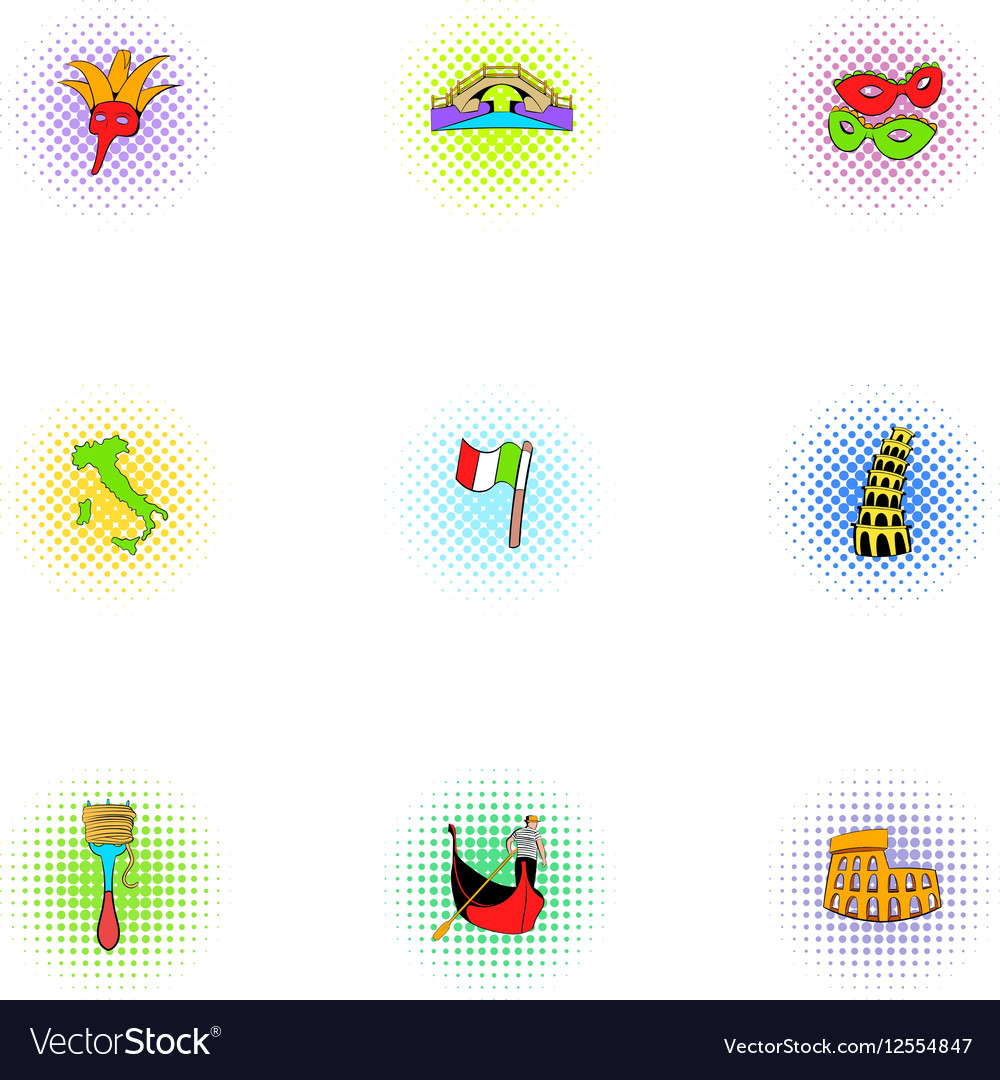 Holiday in Venice icons set pop-art style