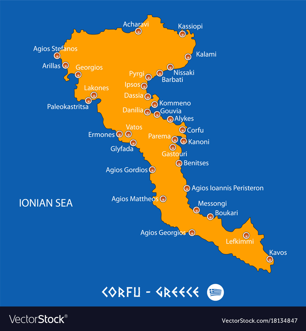 Island Of Corfu In Greece Orange Map And Blue Vector Image