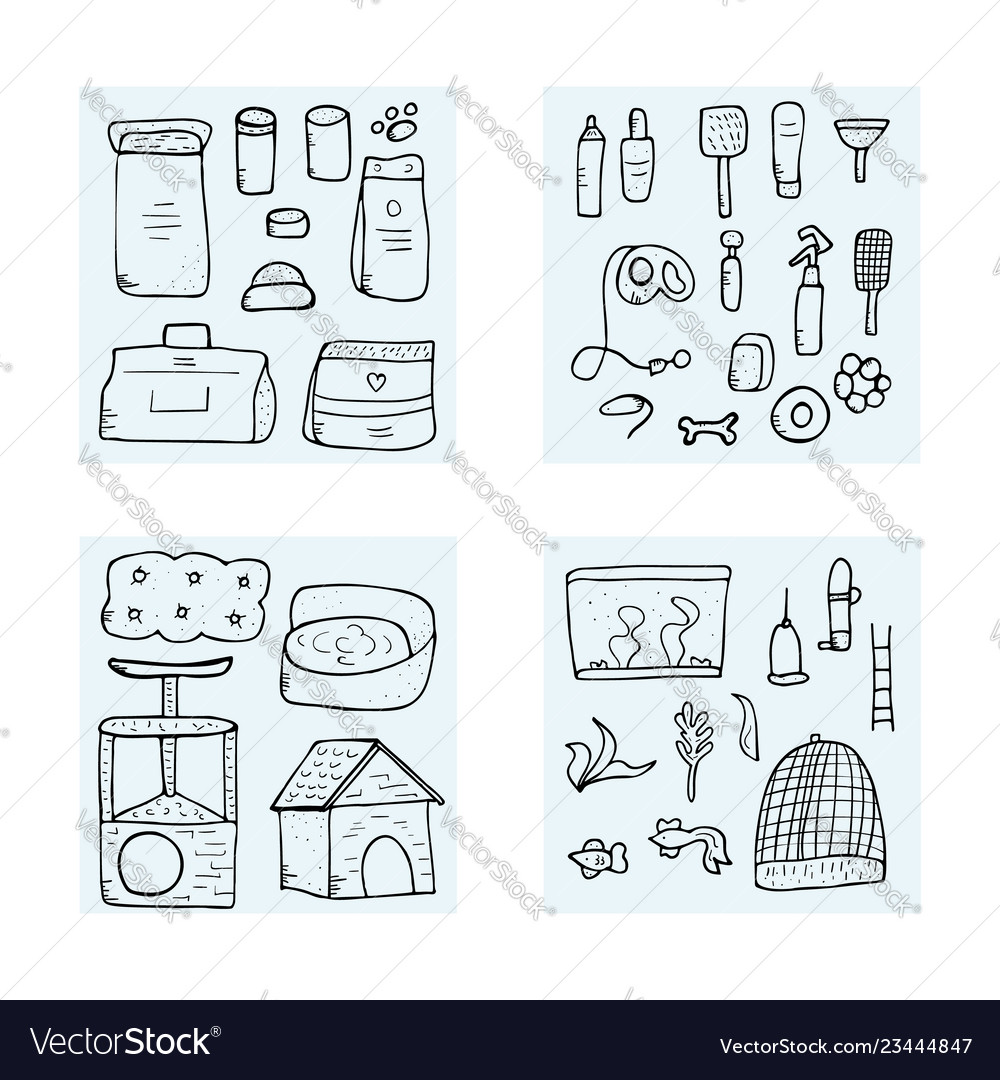 Pet shop concept doodle style design
