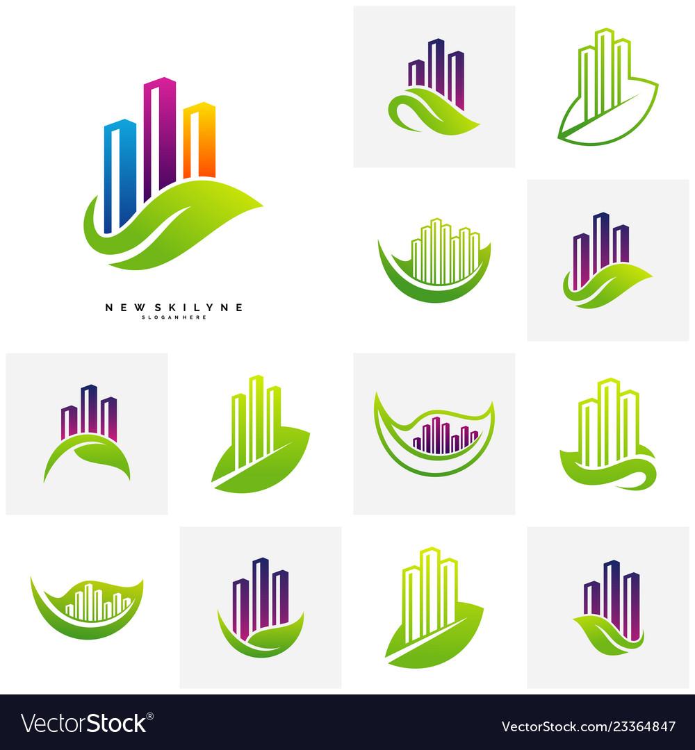 Set of green city logo concepts symbol icon of