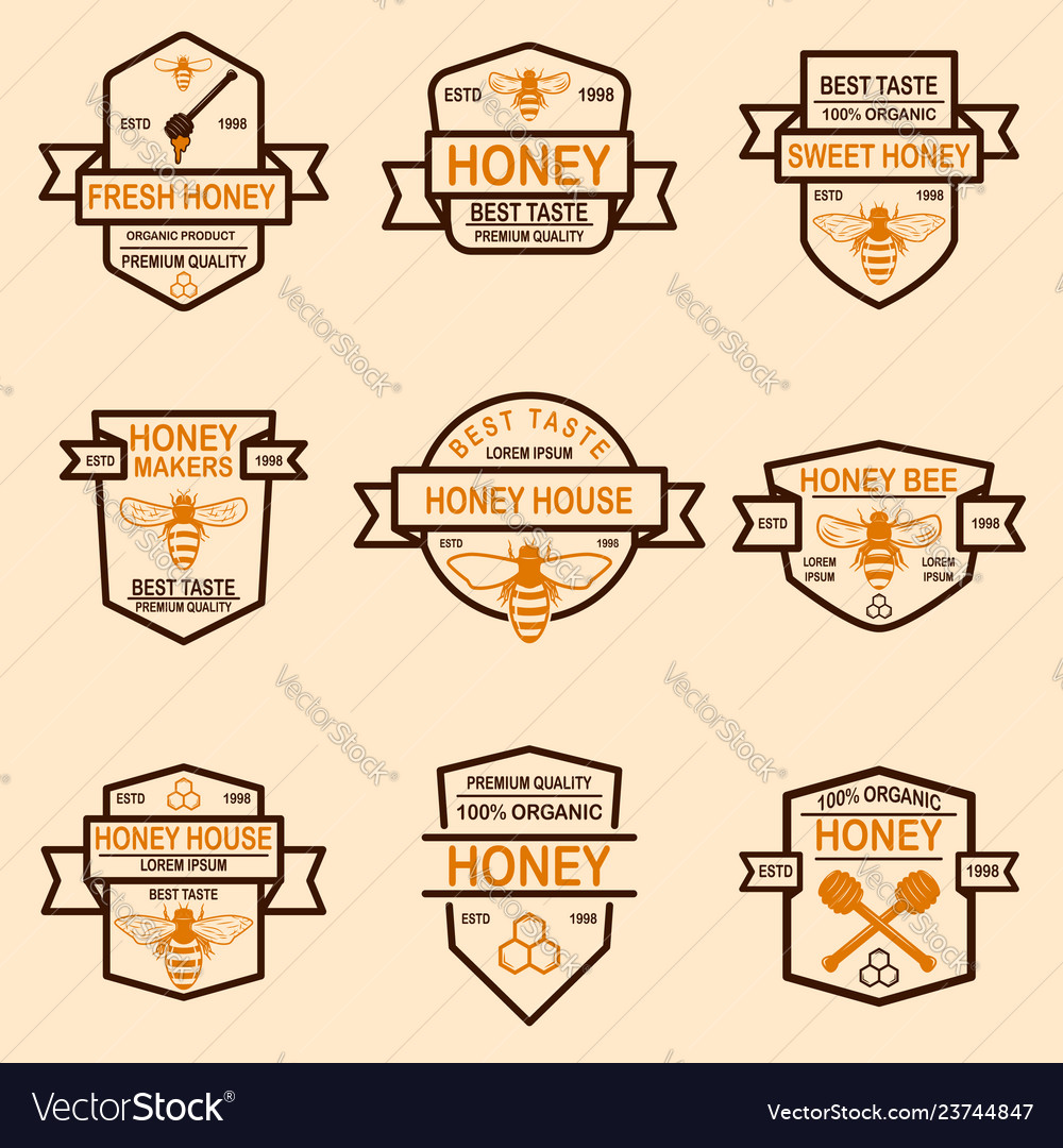Set of honey labels template bee icons design