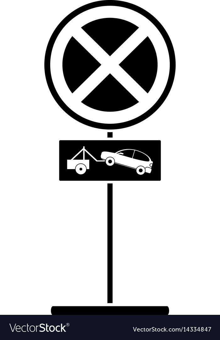 Silhouette no parking road sign crane car vector image