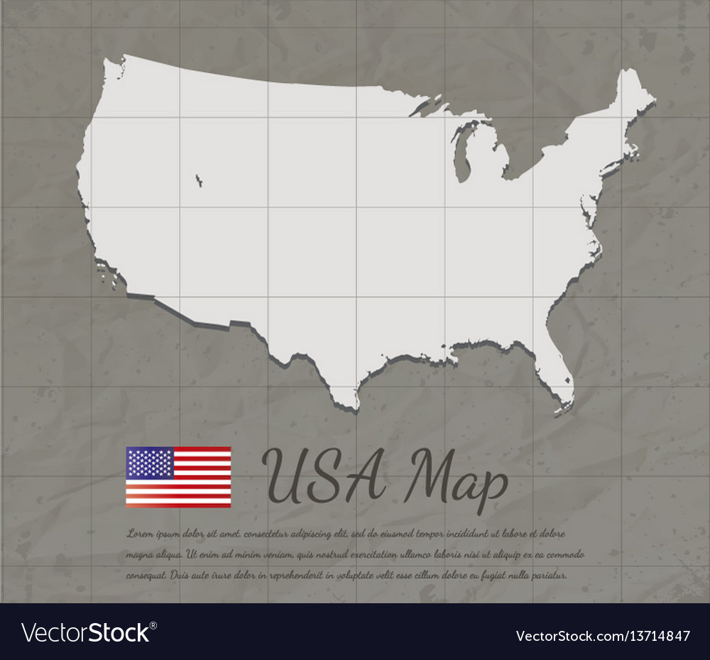 Vintage usa map paper card map silhouette