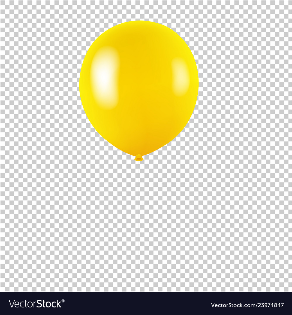 Yellow balloon isolated transparent background