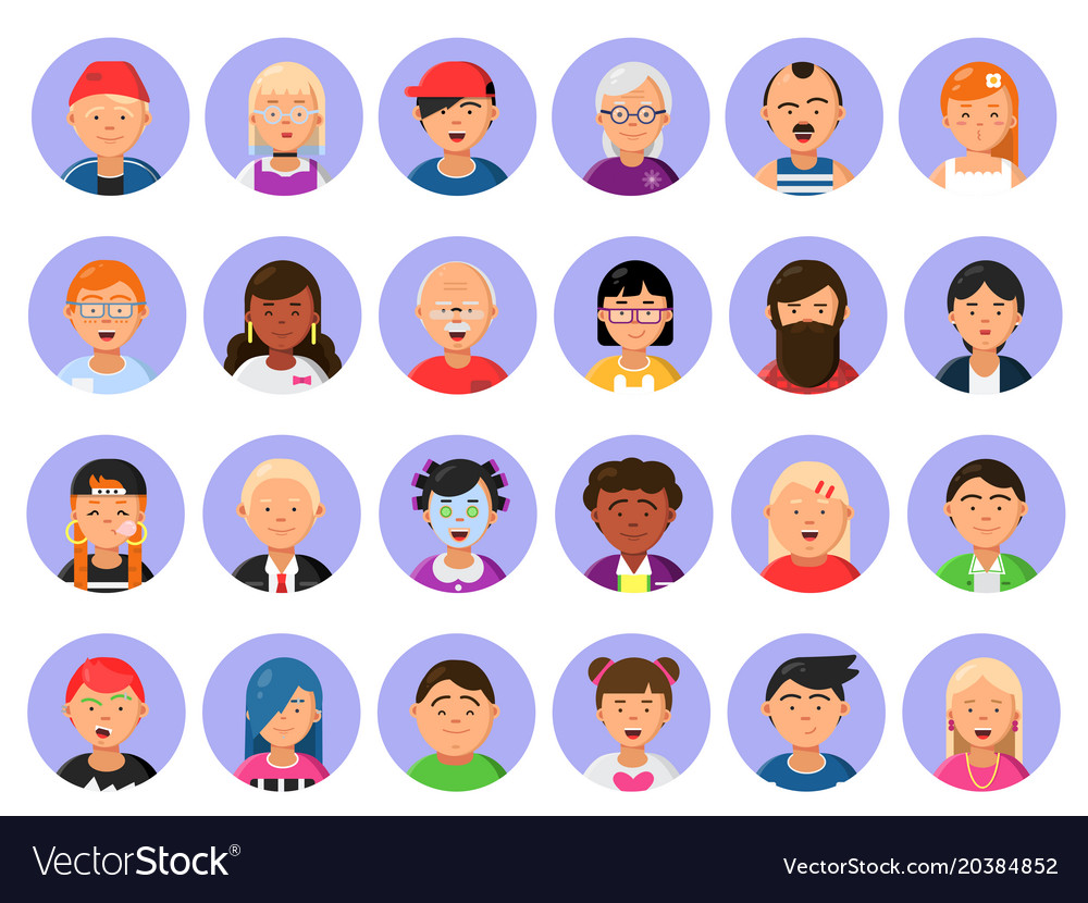 Avatars set of male and female characters in flat