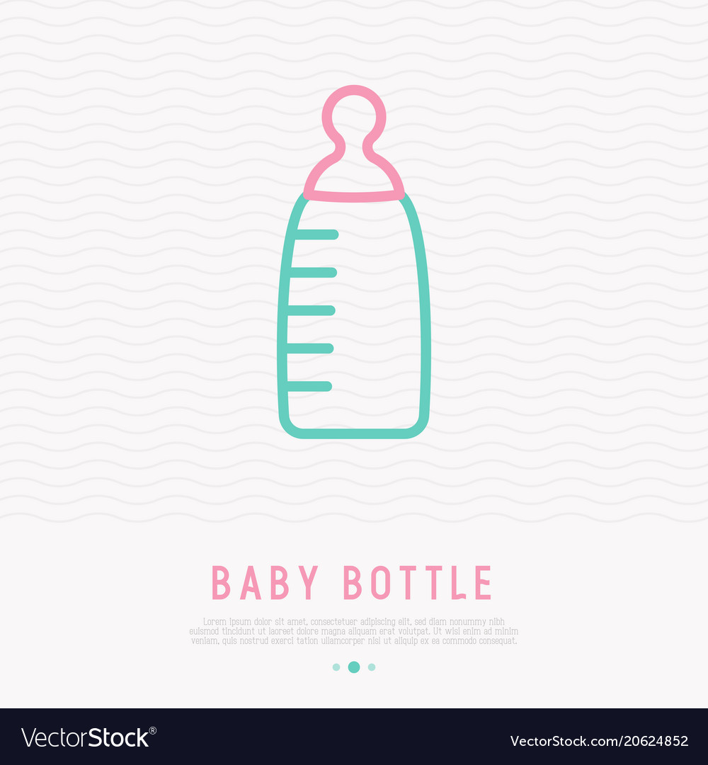 Baby bottle thin line icon